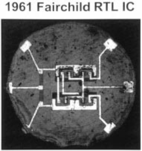 An early Fairchild Semiconductor silicon planar integrated circuit from 1961, with only 4 transistors and only about one millimeter wide. Courtesy Fairchild Semiconductor.